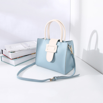 Stylish Vogue Handbag with Large Buckle for Women (Blue and White)