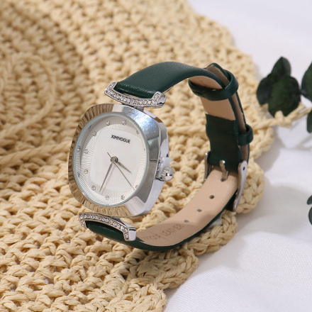 Stylish Watch with White Steel Case White Dial Green Watchband-1951J