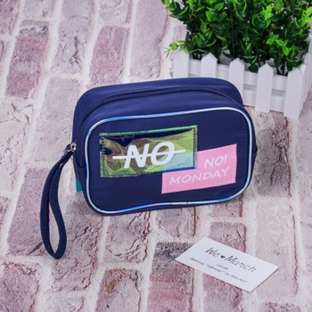Trendy Patch Rectangular Makeup Bag (Blue)