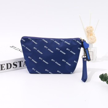 Trendy Printed Makeup Bag (Blue)