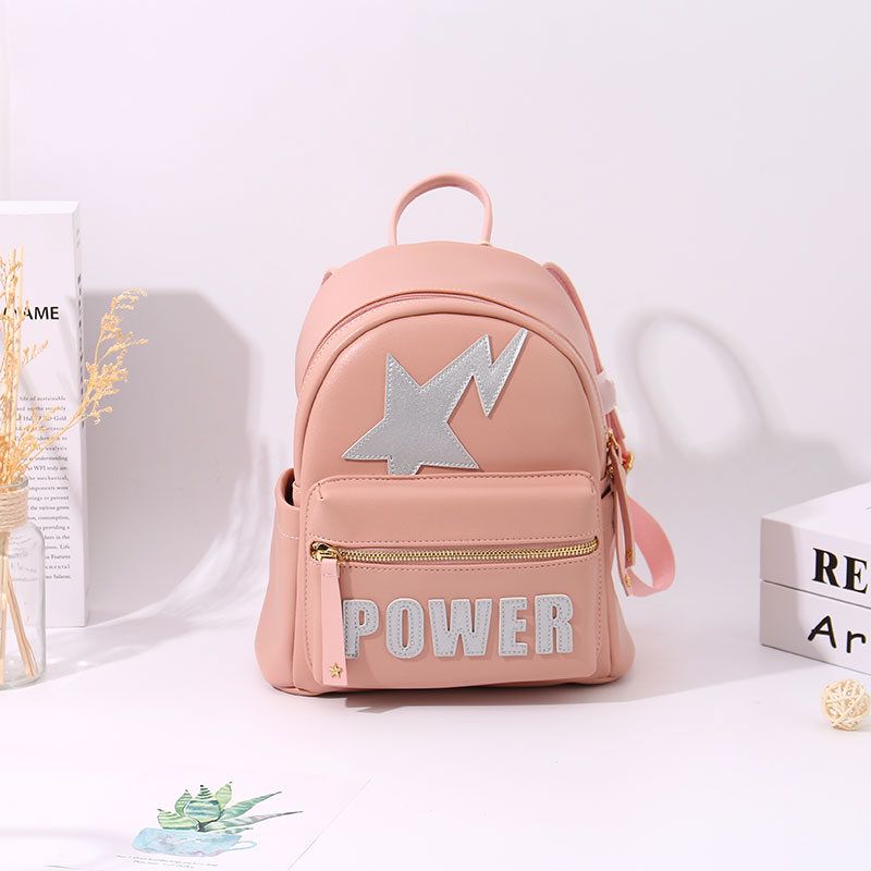 Trendy Vogue Letters Patch Backpack (Pink)