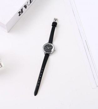 Trendy Watch with White Steel Case Black Dial Black Watchband (1821A with Box)