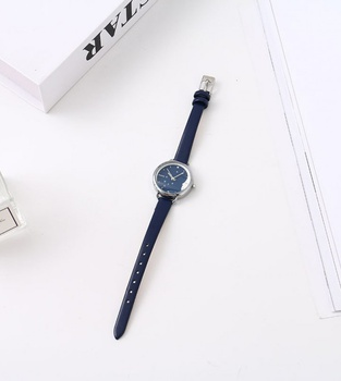 Trendy Watch with White Steel Case Blue Dial Blue Watchband (1821D with Box)