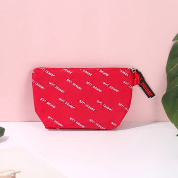 Vogue Letters Print Trapezoidal Makeup Bag (Red)