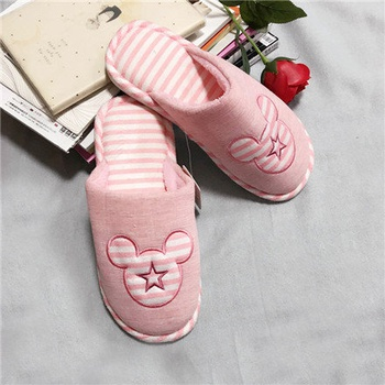 "[XVSPF01597] ""Happy Family"" Striped Closed Toe Slippers for Women(Pink)(40-41)"