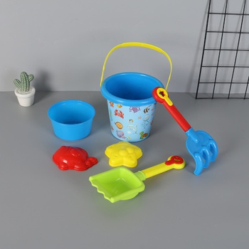 [XVTSP01990] 6-in-1 Marine Animal Pattern Bucket Beach Toy Set (802)