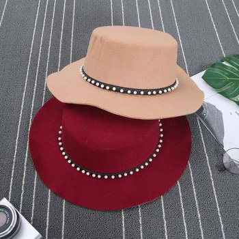 [XVSPH01632] All-Match Pearl Imitated Cashmere Felt Hat (Wine Red)