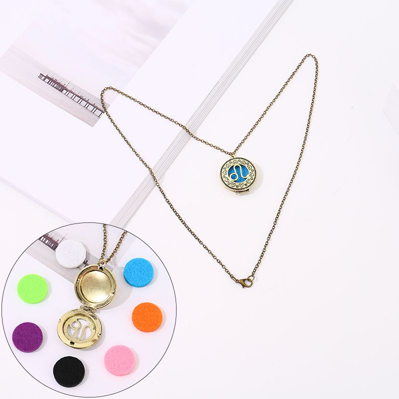 Aromatherapy necklace with 7 color cotton zodiac (Leo)