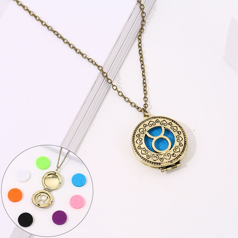 Aromatherapy necklace with 7-color cotton zodiac (Taurus)