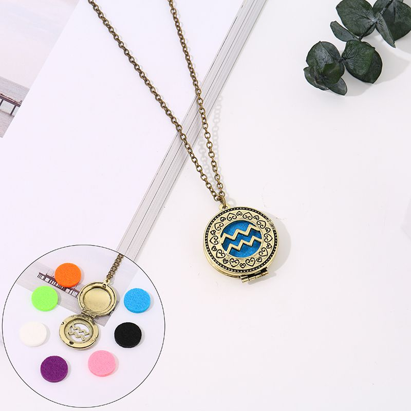 Aromatherapy necklace with 7-color cotton zodiac models (Aquarius)
