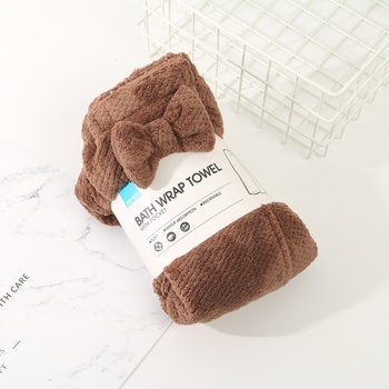 [XVHITS01015] Bath Wrap Towel with Pocket (Coffee)