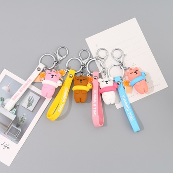 [XVFAMC00326] Bear Wearing Swimming Ring Silicone Key Chain with Finger Strap