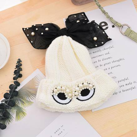 Beautiful Eyes Knit Hat -white