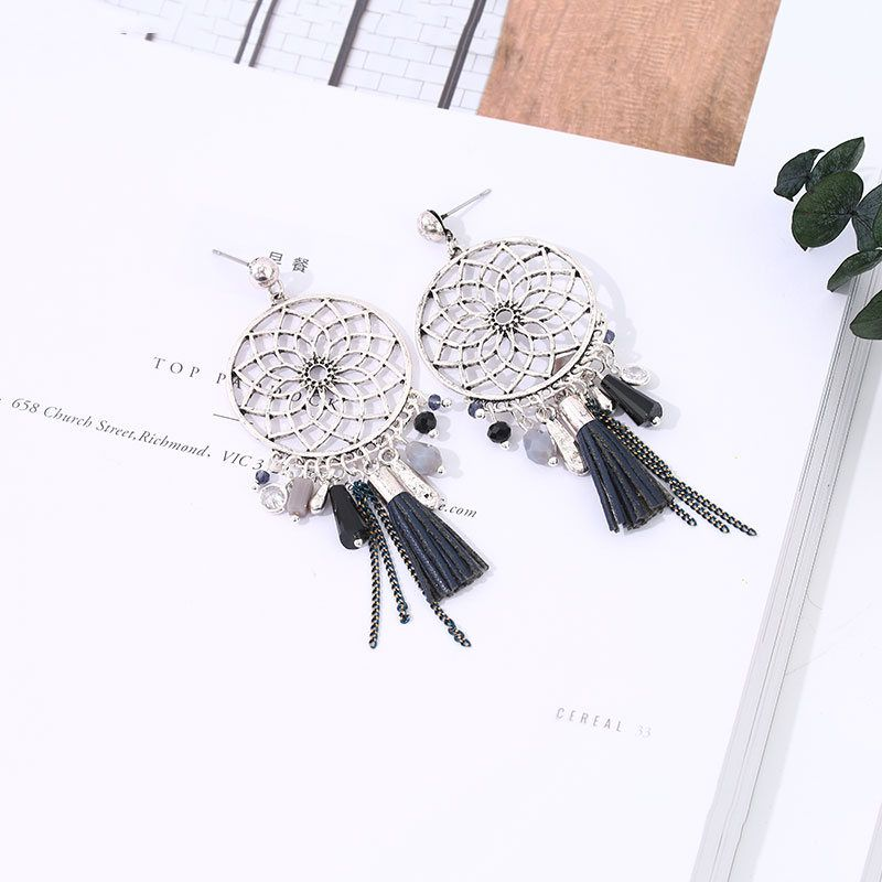 Black Tassels Dreamcatcher Dangle Earrings