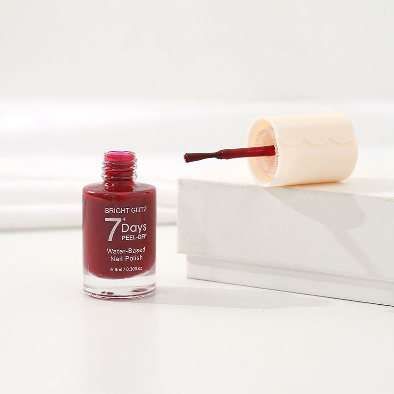 Bright Glitz 7-Day Peel-Off Water-Based Nail Polish (Wine Red)