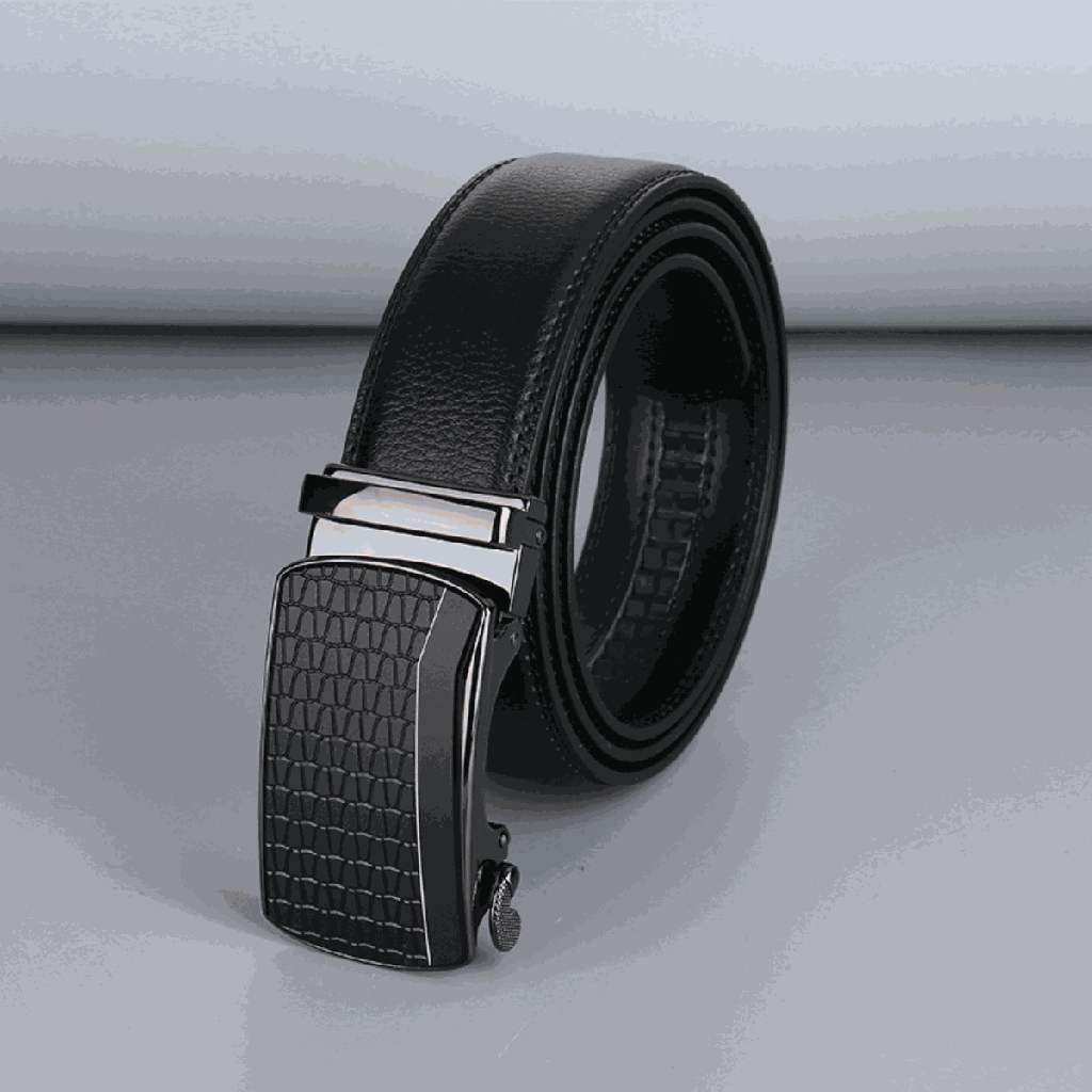 Business Style Leather Belt with Automatic Buckle for Men (Black)