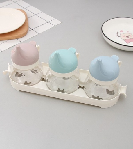 [XVHIKS01197] Cartoon Elephant Glass Condiment Dispenser Box Set