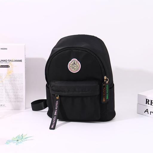 [XVBBP02121] Classic Casual Style All-Match Round Patch Backpack (Black)