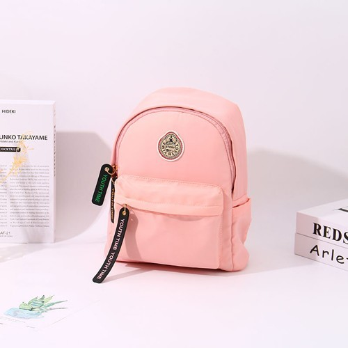 [XVBBP02122] Classic Casual Style All-Match Round Patch Backpack (Pink)