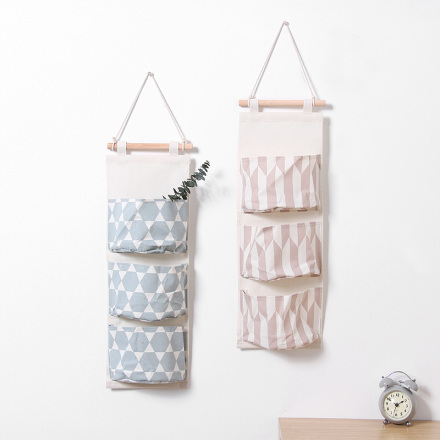 Nordic Style Geometry Pattern Hanging Storage Bag Organizer (3 Pockets)x