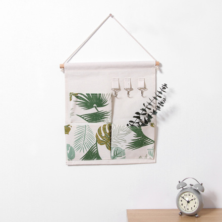 Nordic Style Leaves Pattern Hanging Storage Bag Organizer with Hook (3 Pockets)