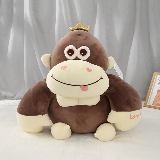 Plush Dark Coffee Sitting Monkey