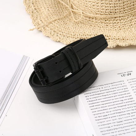 [XVSPB01508] Retro Style Double-Pin Buckle PU Belt for Men (Black)