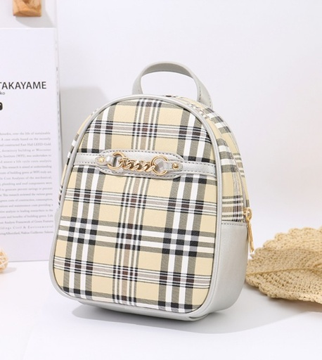 [XVBBP02150] Simple Style Trendy Plaid Mini Backpack (Silver)