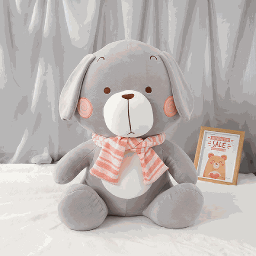 Sitting Dog Wearing Scarf Plush Doll (Gray)