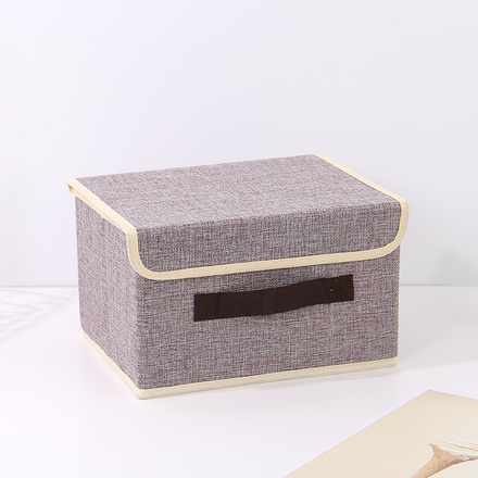 Small-Sized Simple Style Linen-Like Storage Container (Gray)