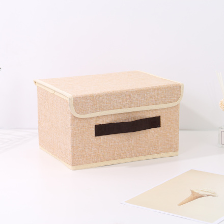 Small-Sized Simple Style Linen-Like Storage Container (Khaki)