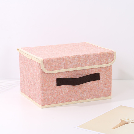 Small-Sized Simple Style Linen-Like Storage Container (Pink)