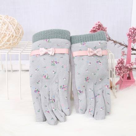 Floral Pattern Bowknot Gloves for Children-Green