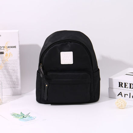 [XVBBP00032] Fresh Style All-Match Patch Backpack (Black)