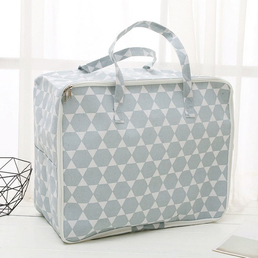 Large-Sized Nordic Style Blue Geometry Pattern Storage Organizer Bag