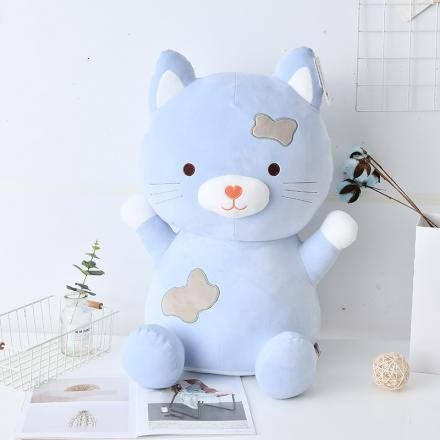 Large-Sized Sitting Cat Plush Doll (blue)