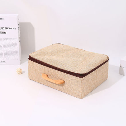 Large-Sized Zippered Storage Box with Wooden Handle (Khaki)