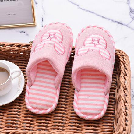 "[XVSPF01595] ""Happy Family"" Striped Closed Toe Slippers for Women(Pink)(36-37)"