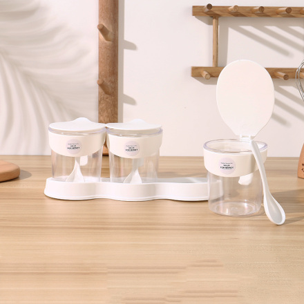 [XVHIKS01180] 3-in-1 Plastic Condiment Dispenser Box (White)