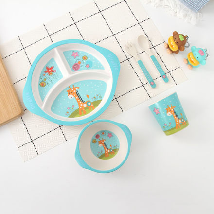 [XVHIKS01086] 5-in-1 Bamboo Fibre Tableware Set 008-Giraffe