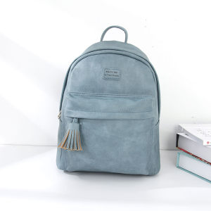 [XVBBP00093] All-Match Classic Backpack with Tassel Zipper (Blue)