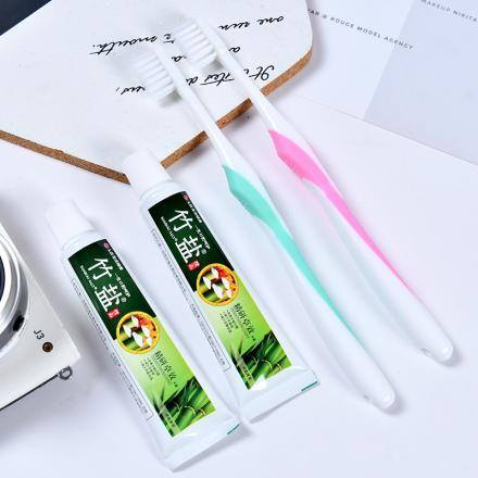 [XVHIHW01308] Bamboo Salt Toothbrush and Toothpaste Travel Kit