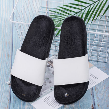 Black and White Slippers for Men (White)(39/40)