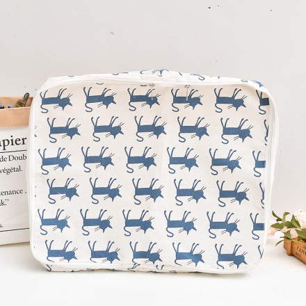 [XVHISP00902] Blue Cat Pattern Storage Bag for Quilt
