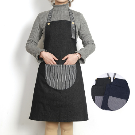 [XVHIKS00991] British Style Denim Blue Apron